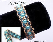 Bracelet tutorial, bracelet pattern, seed beads pattern, pearls bracelet tutorial, DIY jewelry, wide cuff pattern, beading tutorial, ALANDHA