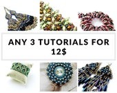 Beading tutorials, beading patterns, seed beeds jewelry: Buy ANY 3 TUTORIALS for 12 USD - Earrings, Bracelets, Peyote Patterns and more!