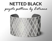 Peyote bracelet pattern, wide cuff pattern, uneven peyote stitch, peyote pattern, DIY jewelry, NETTED BLACK, 5 colors only, instant download