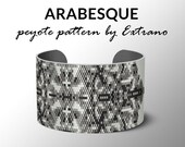 Bracelet peyote pattern, peyote bracelet, uneven peyote stitch pattern, delica pattern - ARABESQUE - 4 colors - Instant download