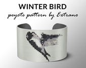 Peyote bracelet pattern, wide cuff pattern, even peyote stitch, peyote pattern, DIY jewelry - WINTER BIRD - 5 colors - Instant download