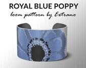 Bead Loom Pattern, Loom Tutorial, Beading Pattern, Loom Beading Pattern, Bracelet Tutorial, Bracelet Pattern, Loom Pattern, ROYAL BLUE POPPY