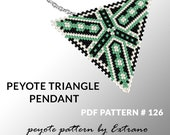Triangle peyote pattern, peyote triangle pattern with instruction, peyote triangle how to, native stitch, red triangle peyote pendant #126