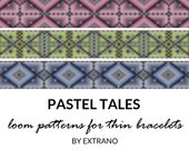 Loom bracelet patterns, thin bracelet patterns, loom stitch patterns, loom pattern, native american bracelets patterns PASTEL TALES