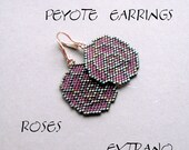 Peyote Earrings, seed bead earrings, peyote pattern, DIY earrings - ROSES - Patern with DETAILED instructions - Instant download