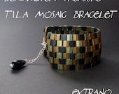 Bracelet tutorial, wide cuff pattern, bracelet pattern, Tila bracelet, Tila beads tutorial, DIY jewelry, beading tutorial - TILA MOSAIC