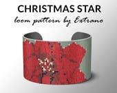 Bead Loom Pattern, Loom Tutorial, Beading Pattern, Loom Beading Pattern, Bracelet Tutorial, Bracelet Pattern, Loom Pattern - CHRISTMAS STAR