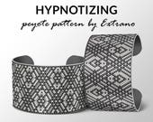 Peyote bracelet pattern, wide cuff pattern, uneven peyote stitch, peyote pattern, DIY jewelry - HYPNOTYZING - 2-3 colors - Instant download