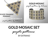 Bracelet with pendant pattern, peyote tutorial, uneven peyote pattern, triangle peyote pattern, pattern for beaded set GOLD MOSAIC peyote