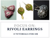 Rivoli earrings, set of patterns, beading tutorials - Swarovski Rivoli EARRINGS: 3 tutorials for 12.00 instant download, wholesale discount