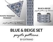 Bracelet with pendant pattern, peyote tutorial, uneven peyote pattern, triangle peyote pattern, pattern for beaded peyote set BLUE & BEIGE