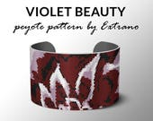Peyote bracelet pattern, wide cuff pattern, even peyote stitch, peyote pattern, DIY jewelry - VIOLET BEAUTY, 4 colors only, Instant download
