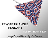 Triangle peyote pattern, peyote triangle pattern with instruction, peyote triangle how to, native stitch, red triangle peyote pendant #127