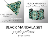 Bracelet with pendant pattern, peyote tutorial, uneven peyote pattern, triangle peyote pattern, pattern for beaded set BLACK MANDALA set