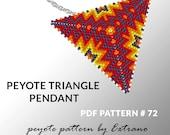 Peyote triangle pattern with instruction, peyote triangle instruction, triangle peyote pattern, native stitch, triangle peyote pendant #72