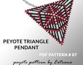 Peyote triangle pattern with instruction, peyote triangle instruction, triangle peyote pattern, native stitch, triangle peyote pendant #87