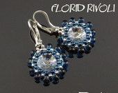 Rivoli earrings tutorial, round earrings pattern, rivoli pattern, flower earrings, round earrings, beaded setting for rivoli - FLORID RIVOLI