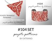 Bracelet with pendant pattern, peyote tutorial, uneven peyote pattern, triangle peyote pattern, pattern for beaded set, peyote set #104