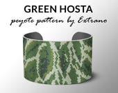 Peyote bracelet pattern, wide cuff pattern, even peyote stitch, peyote pattern, DIY jewelry - GREEN HOSTA - 5 colors only - Instant download