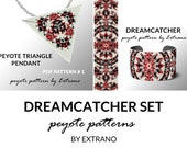 Bracelet with pendant pattern, peyote tutorial, uneven peyote pattern, triangle peyote pattern, pattern for beaded set DREAMCATCHER set