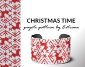 Peyote pattern for bracelet, even peyote stitch, delica pattern, peyote beadwork pattern, bead pattern, jewelry patterns  CHRISTMAS TIME