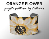 Peyote bracelet pattern, wide cuff pattern, even peyote stitch, peyote pattern, DIY jewelry - ORANGE FLOWER, 5 colors only, Instant download