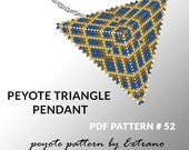 Peyote triangle pattern with instruction, peyote triangle instruction, triangle peyote pattern, native stitch, triangle peyote pendant #52