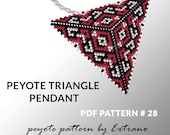 Peyote triangle pattern with instruction, peyote triangle instruction, triangle peyote pattern, native stitch, triangle peyote pendant #28