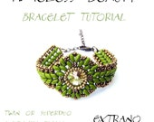 Bracelet tutorial, bracelet pattern, Superduo bracelet, superduo tutorial, DIY jewelry, wide cuff pattern, beading tutorial, TIMELESS BEAUTY