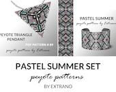 Bracelet with pendant pattern, peyote tutorial, uneven peyote pattern, triangle peyote pattern, pattern for beaded set PASTEL SUMMER set
