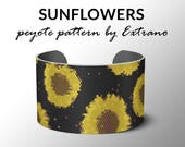 Peyote pattern bracelet, wide cuff pattern, even peyote stitch, peyote pattern, DIY jewelry - SMALL SUNFLOWERS - 5 colors only - 2 versions