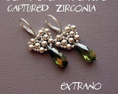 Beaded earrings tutorial, long earrings tutorial, long earrings pattern, earrings pattern, beaded cap for beads tutorial - CAPTURED ZIRCONIA
