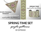 Peyote set, bracelet with pendant pattern, peyote set, uneven peyote pattern, triangle peyote pattern, pattern for beaded set SPRING TIME