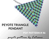 Peyote triangle pattern with instruction, peyote triangle instruction, triangle peyote pattern, native stitch, triangle peyote pendant #46