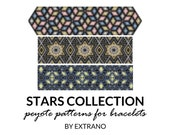 Peyote bracelet patterns, uneven peyote pattern, mosaic peyote pattern, navy american peyote pattern, bracelet tutorial STARS COLLECTION