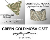Bracelet with pendant pattern, peyote tutorial, uneven peyote pattern, triangle peyote pattern, pattern for beaded set GREEN - GOLD MOSAIC