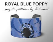 Peyote bracelet pattern, wide cuff pattern, even peyote stitch, peyote pattern, DIY jewelry - BLUE POPPY - 6 colors only - Instant download