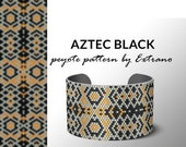 Beading pattern, pattern for bracelet, peyote pattern, peyote bracelet, bracelet pattern, peyote native, uneven peyote - AZTEC BLACK pattern
