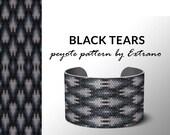Peyote bracelet design, odd count peyote, stitch pattern, pdf pattern, bracelet peyote, peyote pattern, native american jewelry BLACK TEARS