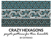 Peyote bracelet patterns, thin bracelet patterns, uneven peyote stitch, peyote pattern, native american bracelets, pdf file - CRAZY HEXAGONS
