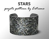 Peyote bracelet pattern, wide cuff pattern, even peyote stitch, peyote pattern, DIY jewelry - STARS - 5 colors - Instant download