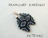Diamond earrings tutorial, peyote earrings pattern, cylinder beads earrings tutorial, seed bead earrings pattern - DIAMOND EARRINGS