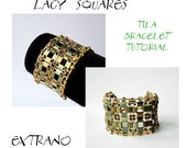 Bracelet tutorial, wide cuff pattern, bracelet pattern, Tila bracelet, Tila beads tutorial, DIY jewelry, beading tutorial - LACY SQUARES