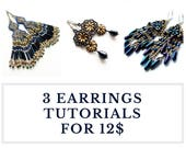 Long earrings tutorials, fringed jewelry patterns - Set of tutorials with wholesale discount - buy 3 TUTORIALS for EARRINGS and save!