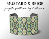 bracelet design, odd count peyote, stitch pattern, pdf pattern, bracelet peyote, peyote pattern, native american jewelry, MUSTARD & BEIGE