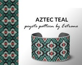 Beading pattern, pattern for bracelet, peyote pattern, peyote bracelet, bracelet pattern, peyote native, uneven peyote - AZTEC TEAL pattern