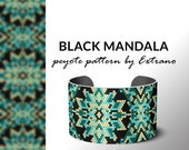 Peyote bracelet pattern, native peyote pattern, odd count, native american pattern, native stitch, pdf pattern beaded bracelet BLACK MANDALA