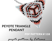 Triangle peyote pattern, peyote triangle pattern with instruction, peyote triangle how to, native stitch, red triangle peyote pendant #118