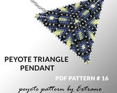 Peyote triangle pattern with instruction, peyote triangle instruction, triangle peyote pattern, native stitch, triangle peyote pendant #16