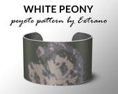 Peyote pattern, bracelet pattern, peyote bracelet, even peyote stitch pattern, flower pattern  - WHITE PEONY - 4 colors - Instant download